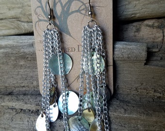 Long Shell and Mother of Pearl Dangle Earrings
