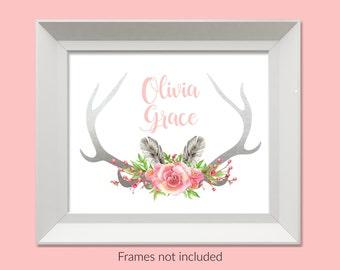Personalized Boho Tribal Nursery Print, Boho Nursery, Custom Name Print, Baby Girl Nursery Wall Art, Deer Antler Print, Gray Pink Nursery