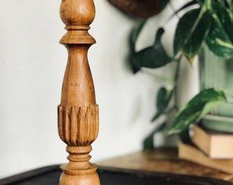Tall Vintage Wood Candlestick, Lathed Turned, Carved Wood, Candle Holder, Boho Decor, Wabi-Sabi, Eclectic Style