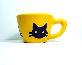 12oz cup with a kitty cabeza (head) print. shown here on lemon butter glaze - Made to Order / Pick Your Colour