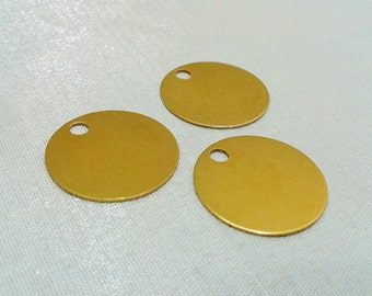 25 Pcs Raw Brass  20 mm Stamping Blanks Disc - 3 mm Holes