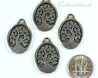 Large Bird In A Tree Charms, TierraCast Pendant Charms, Jewelry Charms, Antiqued Fine Silver Plated Lead Free Pewter, 4 Pieces, 1112