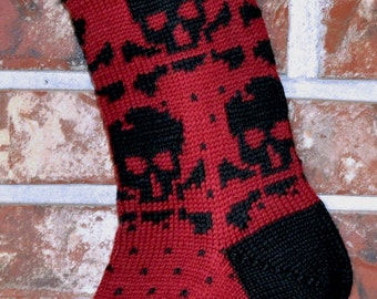 Small Knit Christmas Stocking, 100% Wool - Black Skulls