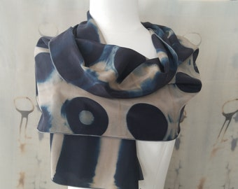 Indigo Circles and Stripes Tan Black Itajime Shibori Silk Habotai Scarf
