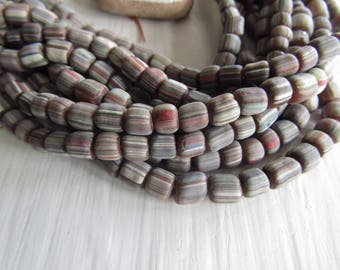 brown glass seed beads, multicolored  stripe small matte opaque ethnic spacer barrel tube, New Indo-pacific  3 to 6mm / 10 in strd, 7ab22-4