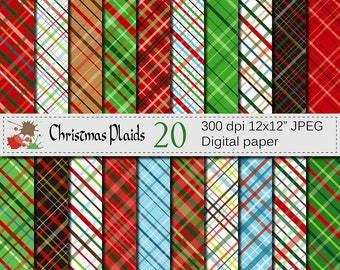 Christmas Plaids Digital Paper Set, Christmas Digital papers, Plaid Digital Scrapbook papers, Christmas Scrapbook papers, Instant Download