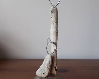Driftwood and Wire Crazy Cat Lady - Driftwood sculpture - wire art - driftwood art