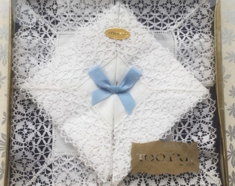"2 Boxed New Vintage ""Tootal"" Cotton Lawn and Lace Wedding Handkerchiefs (Happy to Personalise)"