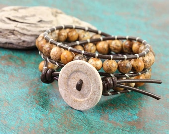 Brown Leather Wrap Bracelet Picture Jasper Summer Fashion Western Style Double Wrap Gemstone Bracelet Boho Jewelry Mothers Day Gift