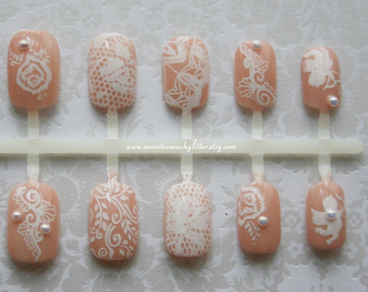 White Chantilly Lace Nails | Wedding Bridal Nails | White Lace Nude ...