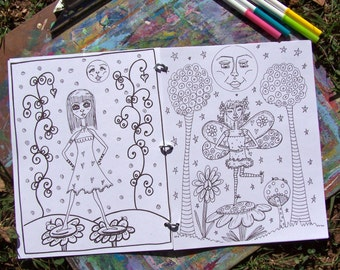 Hippie Coloring Book, Hippie Girls Coloring Book,  Because She Can, Single Sided,No Holes!