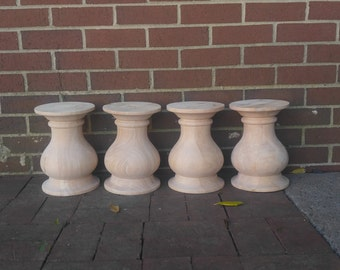 CHUNKY Balustrade Coffee Table Legs, Traditional Style, Unfinished Wood, Wide- Set of 4 Balusters