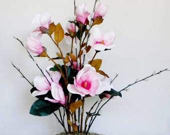 Silk Flower Arrangement Pink With Fuchsia Centers Magnolia Blossoms Pussy Willow Branches Cream