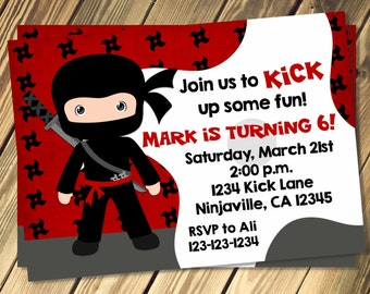 Ninja Birthday Invitation Print Your Own