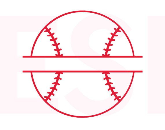 Baseball Svg Baseball Split Monogram Svg Dxf Eps Svg