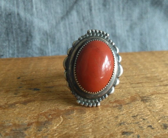 Lovely vintage Navajo jasper and sterling silver ring adjustable band old pawn