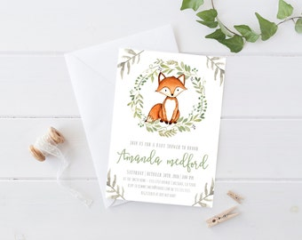 Fox Invitation, Woodland Baby Shower, Boho, Watercolor Printable Invite (791)