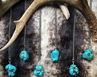 Stabilisée collier Turquoise, turquoise collier, collier de pierres précieuses, collier en cristal, bijoux Bohème, collier minimaliste