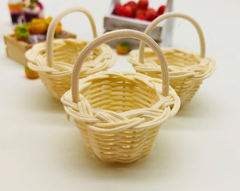 3 pieces Miniature Wicker Basket, Miniature Basket, Miniature Doll's house and decorate