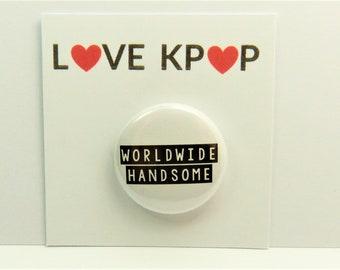 BTS Jin Worldwide Handsome badge BTS merchandise ARMY Cute Kawaii Badge  Rapmonster Suga Jungkook V Taehyung Jimin Yoongi Kpop Accessories