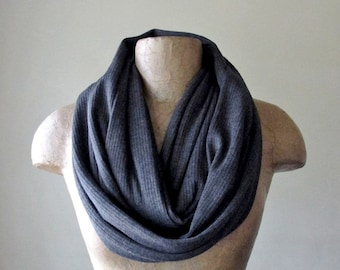 CHARCOAL GREY Sweater Scarf - Ribbed Knit Infinity Scarf - Grey Circle Scarf, Loop Scarf, Eternity Scarf