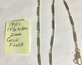 1910s Pocket Watch Chain Gold Filled 14 1/2 inches 2mm