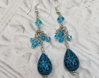 Blue Engraved Teardrop Earrings with Swarovski Crystals, Tear Drop Earrings, Drop & Dangle Earrings, Earrings, Blue, Silver Chain Earrings