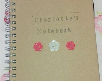 Charlotte's Personalised Kraft/Craft notebook A6 red and white flower buttons