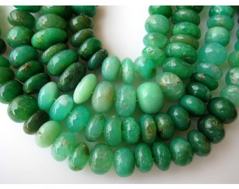 Chrysoprase Rondelles, Chrysoprase Beads, Shaded Chrysoprase, Rondelle Beads, 12mm Beads, Half Strand 9 Inches, 32 Pieces