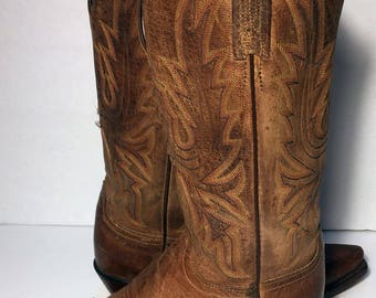 LUCCHESE Brown Leather Western Cowgirl Boots Women's Size 6.5