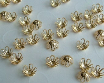 50 pieces of Gold Plated Flower Bead Caps - 7 x 4 mm