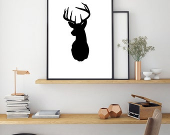 Reindeer Print, Digital Wall Print, Minimal Animal Art, Modern Wall Poster, Abstract Art, Modern Black Deer Poster