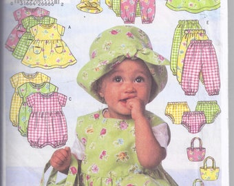 Butterick # B5326  from 200. Infant's Dress, Jumper, Romper, Jumpsuit, Panties, Pants, Hat and Bag. Weight 22-29 lbs.