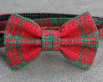 Bow Tie - Red with Green Stripes - Red and Green Plaid BOW tie small