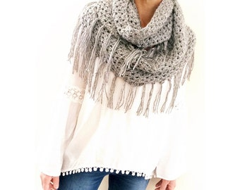 Crochet Scarf Pattern, The Alta Fringe Loop Scarf, Crochet Pattern, Crochet Loop Scarf Pattern, Crochet Infinity Scarf Pattern, Fringe Scarf