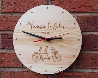FREE DELIVERY-Personalised Engraved Wall Clock, round shape diameter 30cm - Wedding gift -Gift for couple-Anniversary gift-Valentines gift