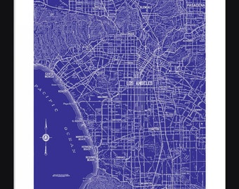 Los Angeles Street Map - Vintage Map - Los Angeles - Blue - Print - Poster