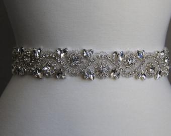16 in to 35 in beaded rhinestone applique, trim, bridal sash, wedding sash, bridal headband, wedding headband,  bridal belt, rhinestone belt