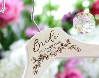 Personalized Bride Hanger with Date - Wedding Hanger - Custom Mrs Hanger
