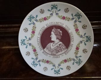 Royal Doulton Bone China Decorative Collectors Plate/Commemerative Plate/80th Birthday of Queen Elizabeth/Queen Mother/Vintage/1980