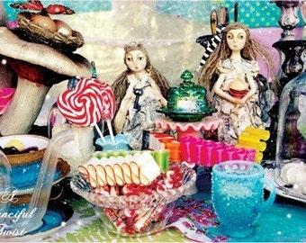 5 Postcard Set - Mad tea Party - Sweet Treats