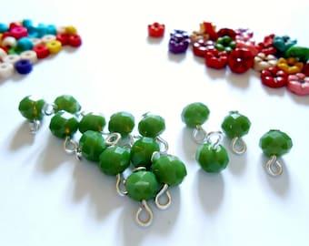 Medium Olivine Faceted Opaque Rondelle Dangle Beads