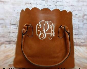Personalized Scallop Purse Handbag Tote Embroidered