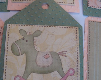 """Baby Shower Tags - Large 5"""" Tags - Set of 12 Green and Peach Baby Tags Baby Toy Tags Baby Boutique"""