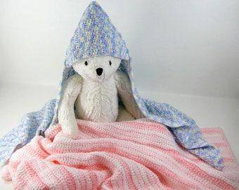 Crochet Pattern - Hooded Baby Afghan Crochet Pattern #201 - Hooded Baby Blanket Crochet Pattern - Hood Baby Afghan - Instant Download PDF