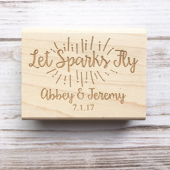 Wedding Stamp Let Sparks Fly Sparklers Wedding Favors - Custom Wedding Rubber Stamp