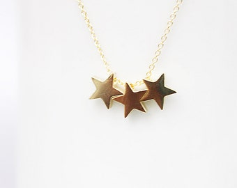 Three  Star Charm Necklace  Gold Star Necklace Bridesmaid Gift Bridesmaid Necklace Dainty and Delicate Necklace