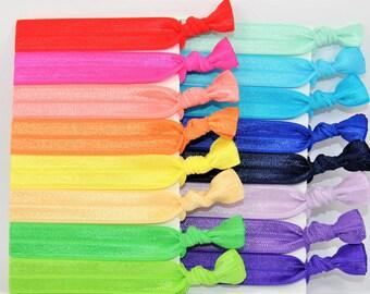 100 Elastic Hair Ties, GRAB BAG, Bulk Solid Hair Ties, Handmade Hair Ties, Ponytail Holders, FOE, Hair Bands, Hair Accessories, missponytail
