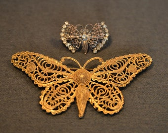 Butterfly brooches: 2 vintage jewellery pins