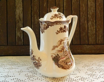 Johnson Bros Old Britain Castles Brown Transferware Multi-colour Multicolor Scallop Coffee Pot and Lid